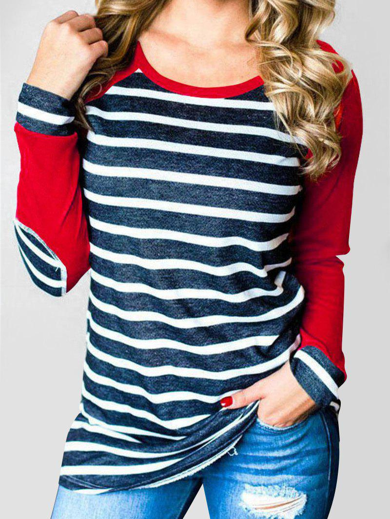 Outfits Striped Elbow Patched Contrast Tee