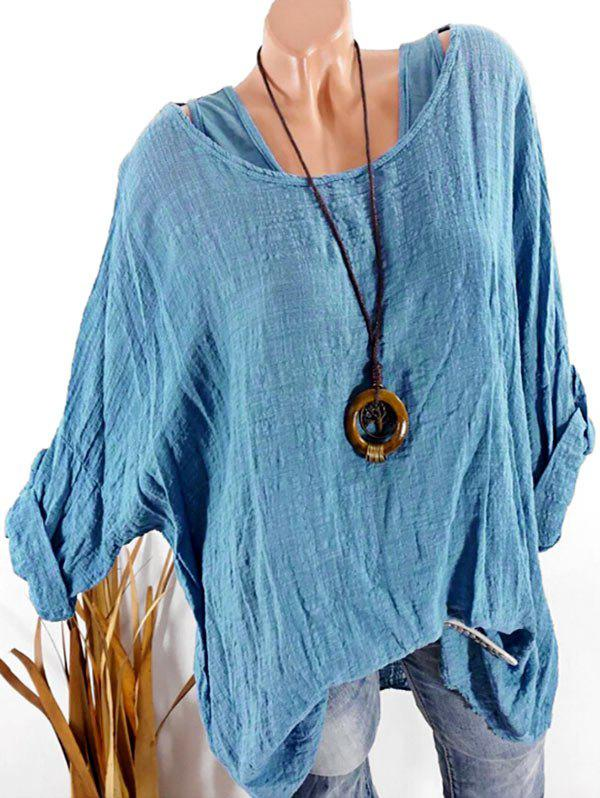 Outfit Plus Size Roll Up Sleeve Drop Shoulder Blouse