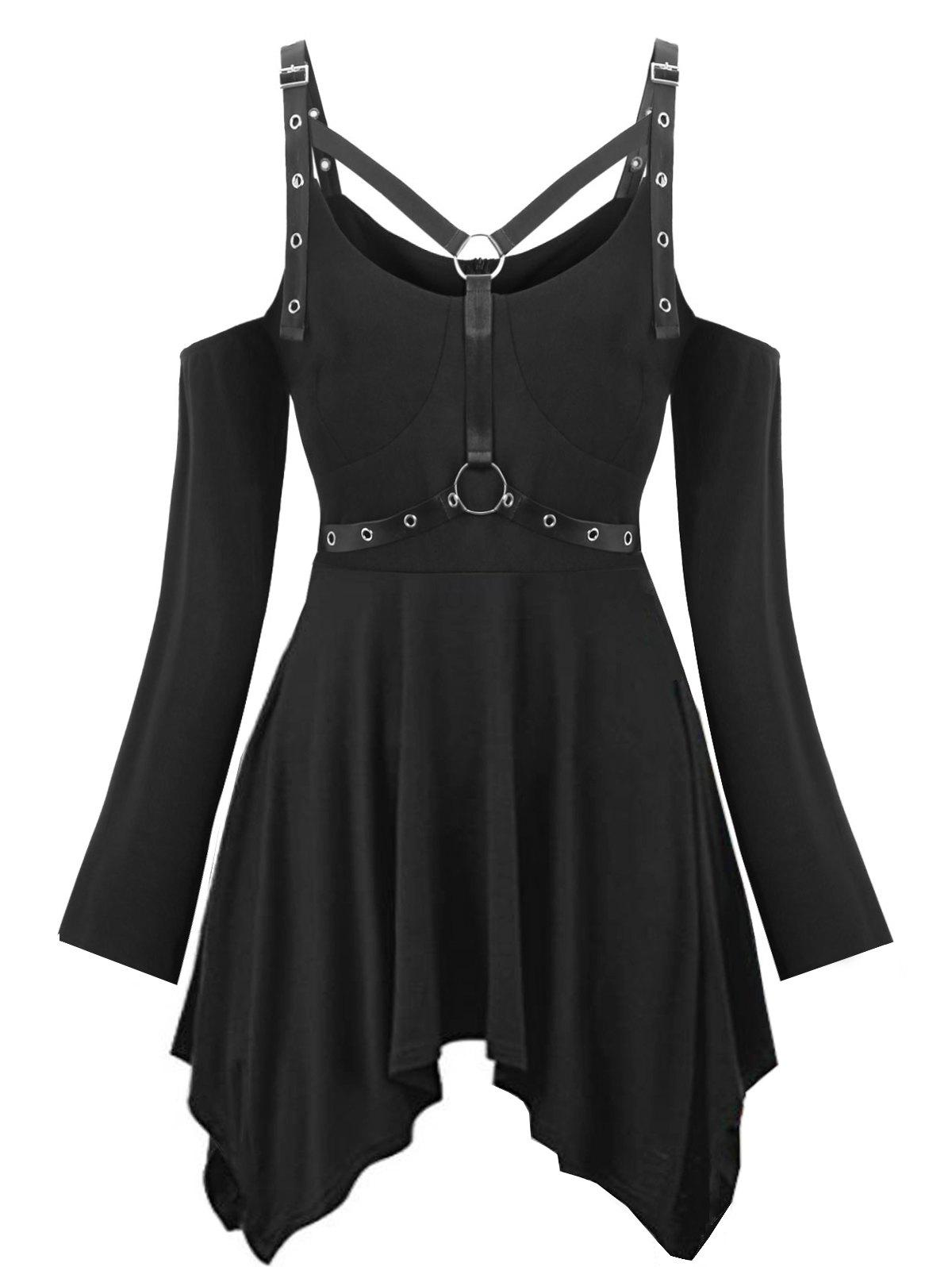 Latest Plus Size Halloween Cold Shoulder Harness Gothic T-shirt