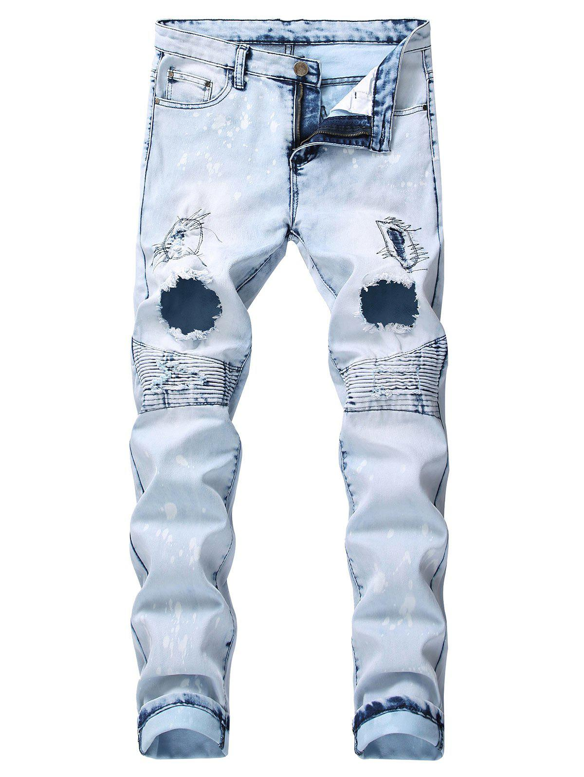 Shops Ruffle Destroyed Design Leisure Jeans