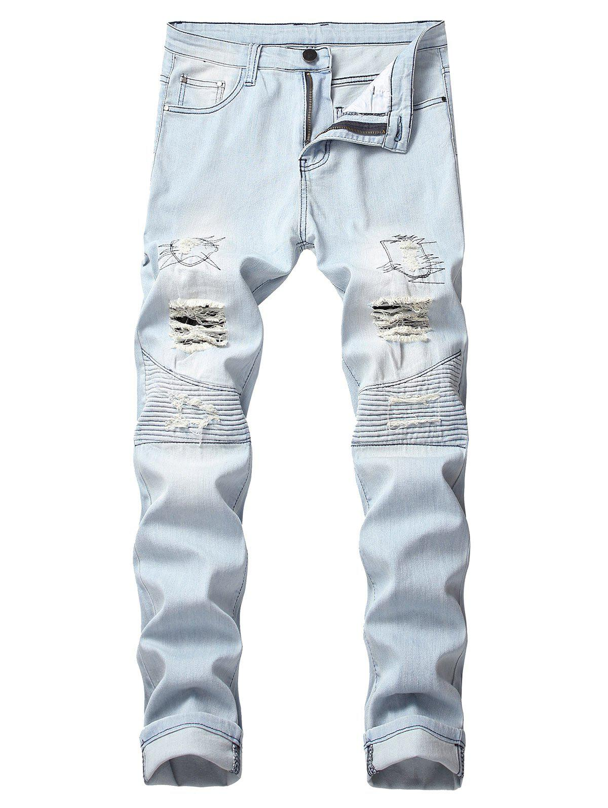 Online Ruffle Ripped Decoration Leisure Jeans