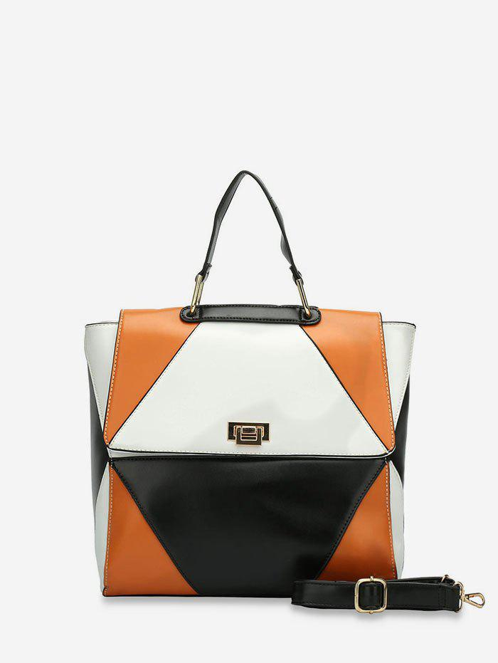 Shops Color Block Patch PU Leather Handbag