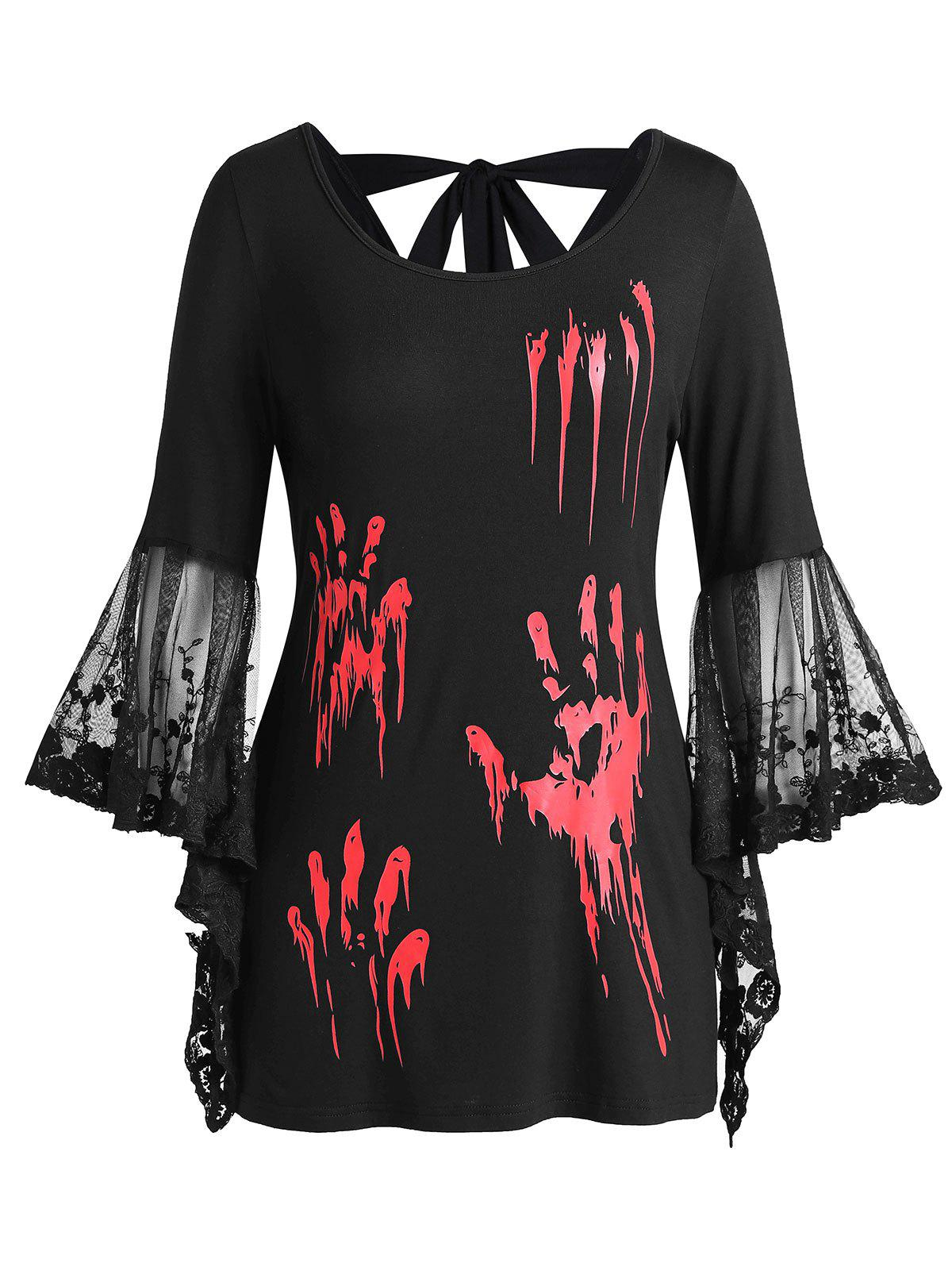 Outfits Plus Size Halloween Blood Hands Flare Sleeve Knotted Sheer Tee
