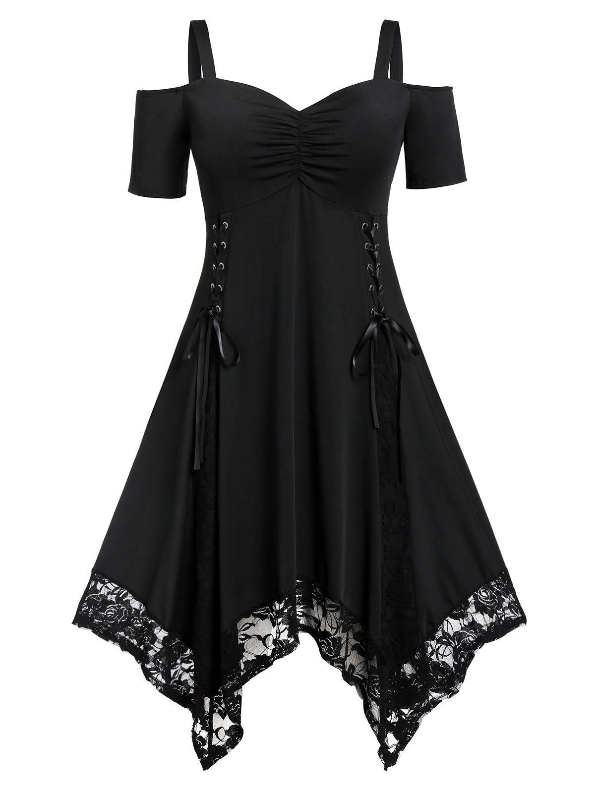 Ruched Lace Up Short Sleeves Lace Trim Plus Size Handkerchief Dress