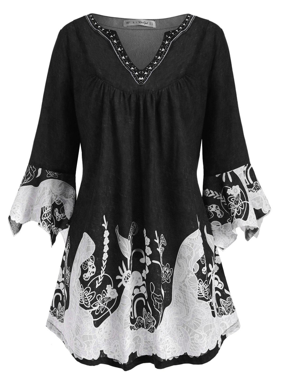 Affordable Notched Flare Sleeve Printed Plus Size Top