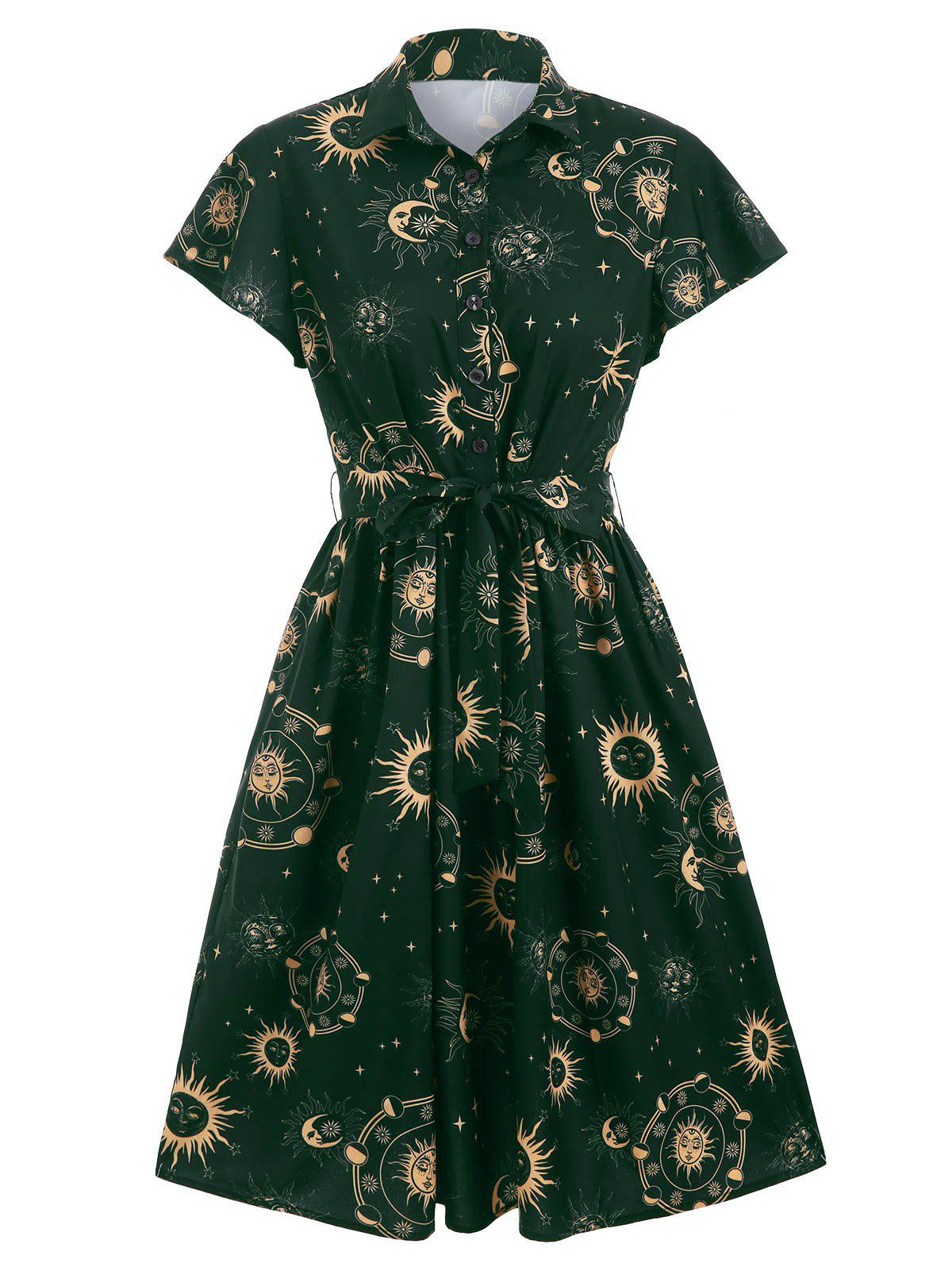 Fashion Sun Moon and Star Print Belted Skater Dress
