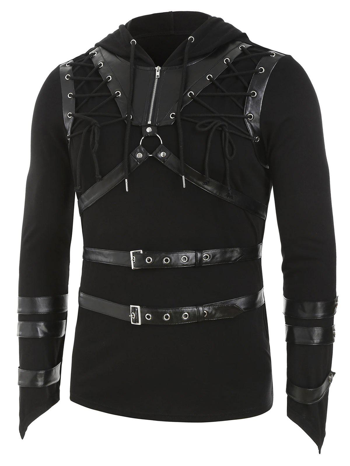 Store Faux Leather Strap Harness Insert Lace-up Hoodie