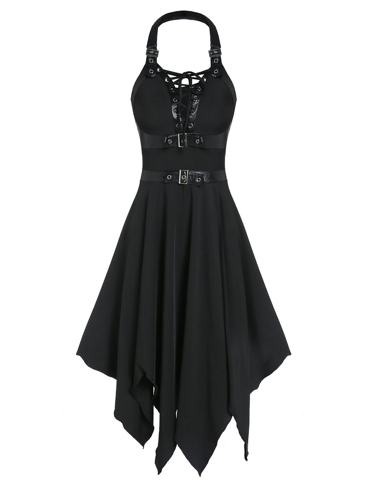 Latest Buckle Strap Cut Out Lace-up Handkerchief Gothic Dress