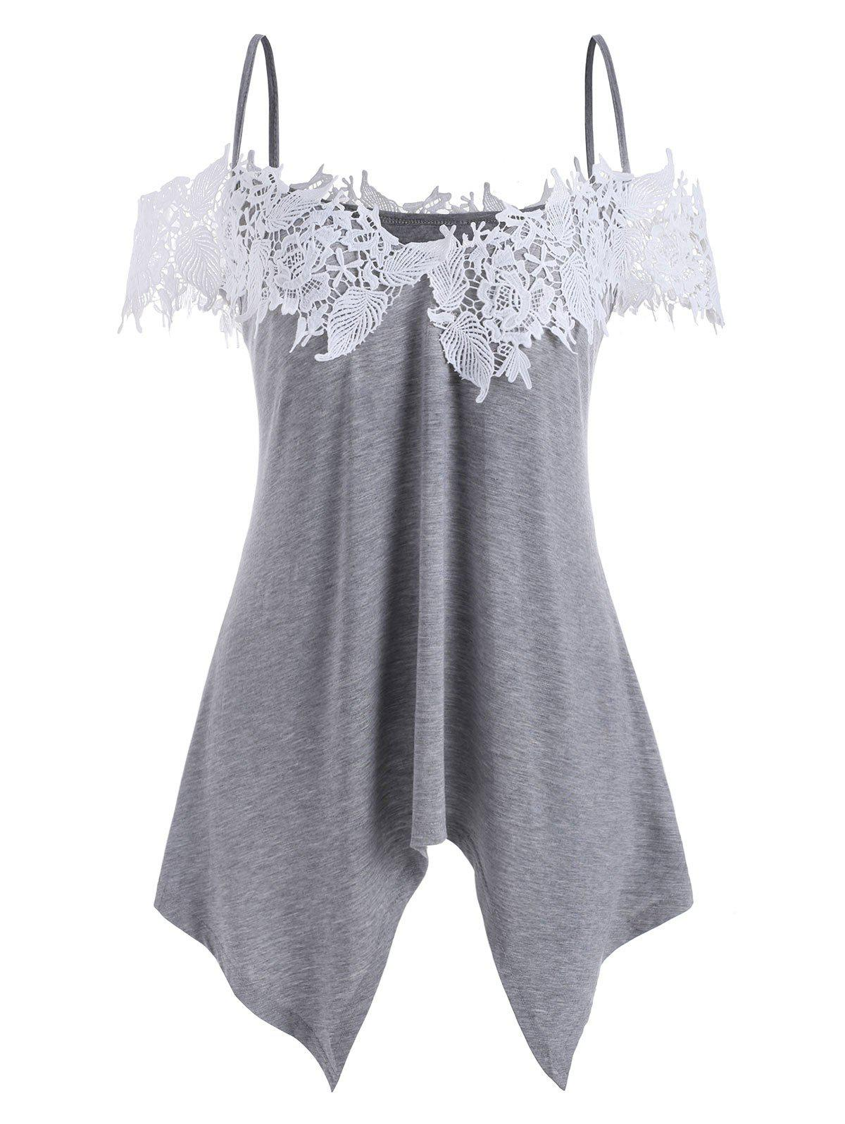 Outfits Lace Panel Asymmetrical Cold Shoulder Top