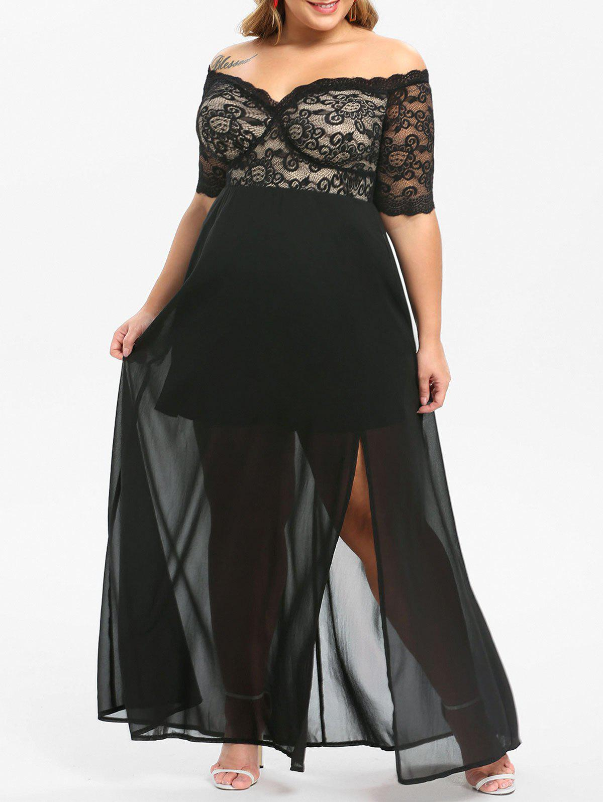 Plus Size Lace Panel Slit Off Shoulder Prom Dress
