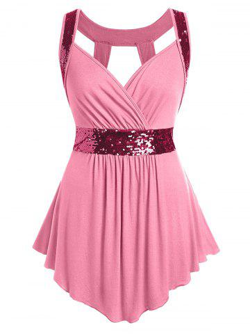 Sweetheart | Glitter | Collar | Tank | Plus | Size | Out | Cut | Top