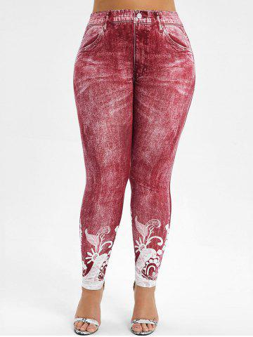 High Waisted Printed Plus Size Jeggings - 2x BLUE