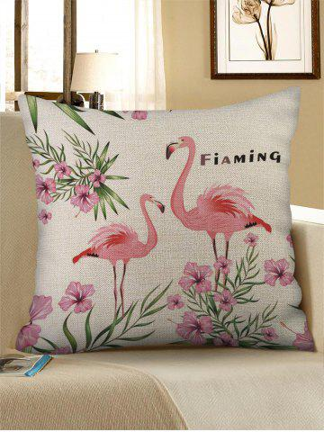 Flamingo and Flowers Print Decorative Pillowcase