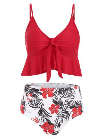 Floral Leaves Print Knotted Padded Tankini Swimsuit