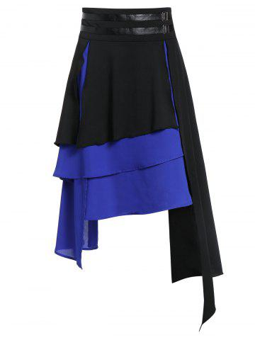 Asymmetric Faux Leather Insert Layered Gothic Skirt