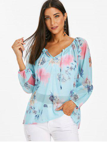 Flower Print Chiffon See Thru Long Sleeve Blouse