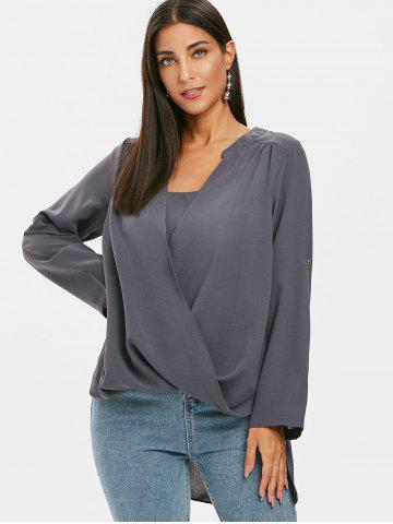 Wrap-front Roll Sleeve Tunic