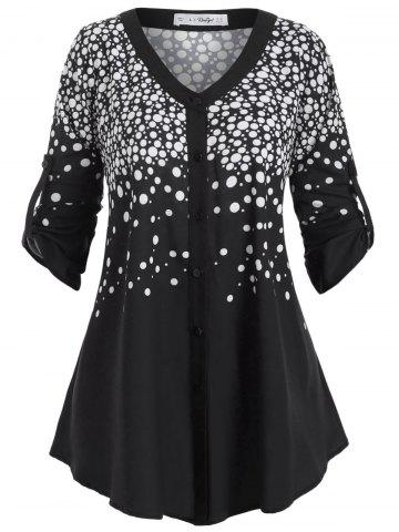 Buttoned Tabs Button Up Polka Dot Plus Size Top