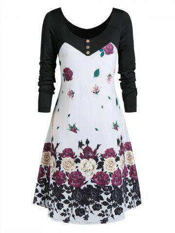 Plus Size Floral Print T-shirt Dress