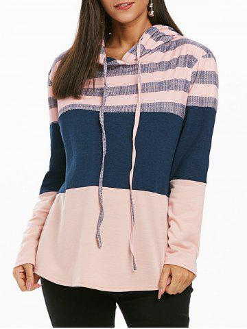 Striped Color Block Drawstring Loose Hoodie - PINK - M