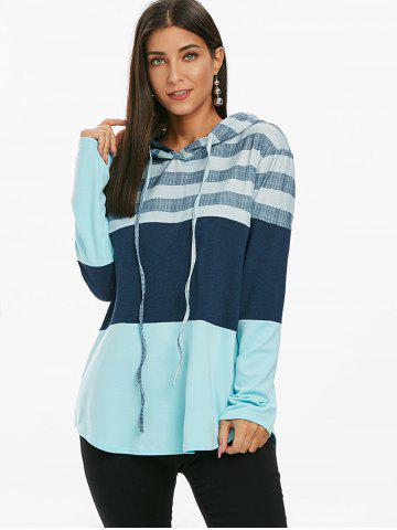 Striped Color Block Drawstring Loose Hoodie