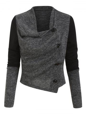 Button Up Contrast Heathered Asymmetric Cardigan