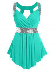 Plus Size Glitter Sweetheart Collar Cut Out Tank Top -