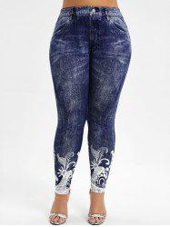 High Waisted Printed Plus Size Jeggings -