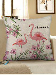 Flamingo and Flowers Print Decorative Pillowcase -