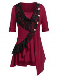Plus Size Flounce Lace Panel Roll Up Sleeve Tunic Tee -