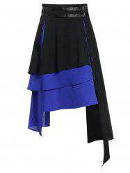 Asymmetric Faux Leather Insert Layered Gothic Skirt -