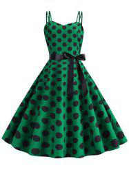 Polka Dot Belted Vintage Strappy Dress -