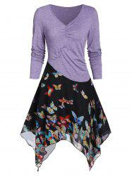 Butterfly Print Chiffon Insert Ruched Handkerchief Dress -