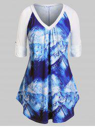 Plus Size Snow Mountain Print Roll Up Sleeve Tunic T-shirt -