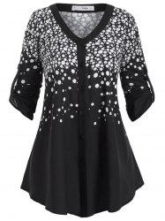 Buttoned Tabs Button Up Polka Dot Plus Size Top -