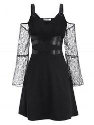 Plus Size Buckled Lace Sleeve Cold Shoulder Gothic Dress -