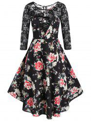 Plus Size A Line Floral Print Lace Panel Dress -