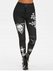 Skull Floral Print High Waisted Lace Up Pants -