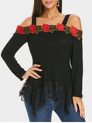 Floral Appliqued Lace Panel Cold Shoulder Tee -
