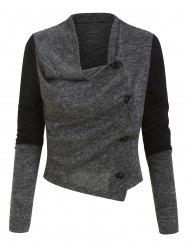 Button Up Contrast Heathered Asymmetric Cardigan -