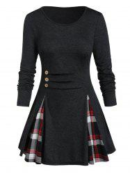 Plus Size Plaid Panel Buttoned A Line Tunic Tee -