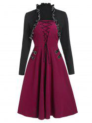 Lace Up Buckle Vintage Dress with Shrug Top -