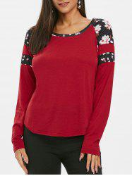 Flower Trim Raglan Sleeve Curved T Shirt -