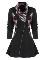 Zipper Fly Checked Panel Cowl Neck Coat -