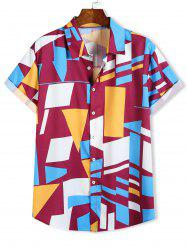 Color Blocking Geometric Print Short Sleeve Shirt -