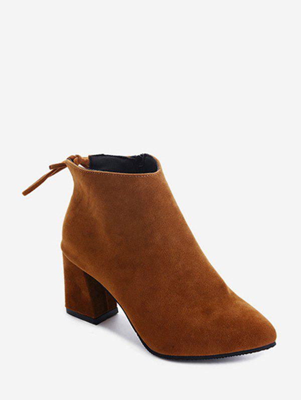 Cheap Solid Tie Back Suede Block Heel Ankle Boots