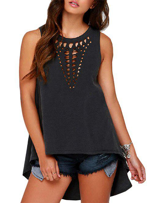 Affordable Laser Cut High Low Longline Tank Top