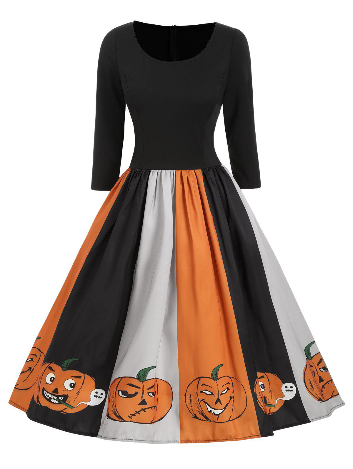 Store Halloween Pumpkin Ghost Print Midi Dress