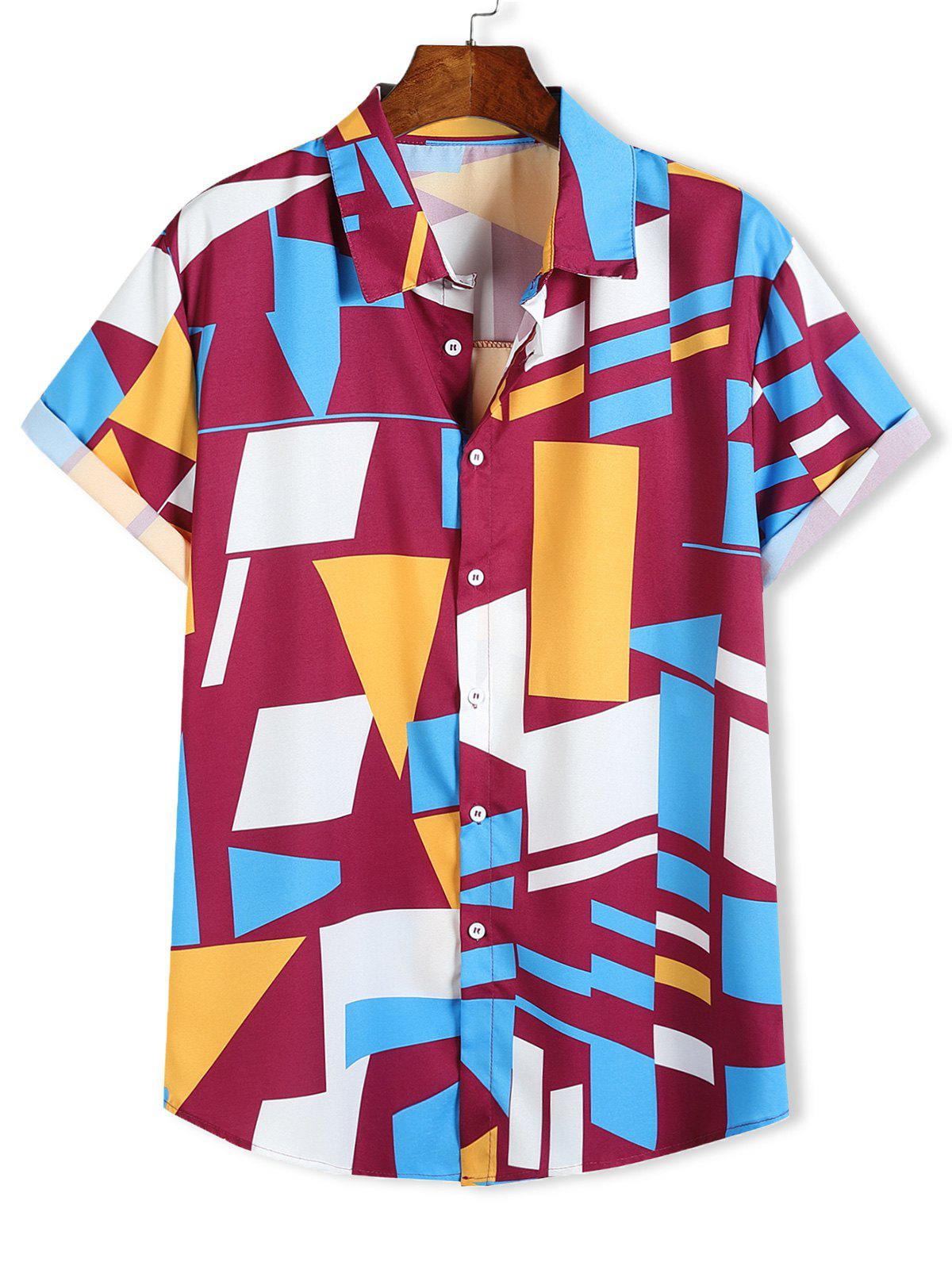 Shops Color Blocking Geometric Print Short Sleeve Shirt