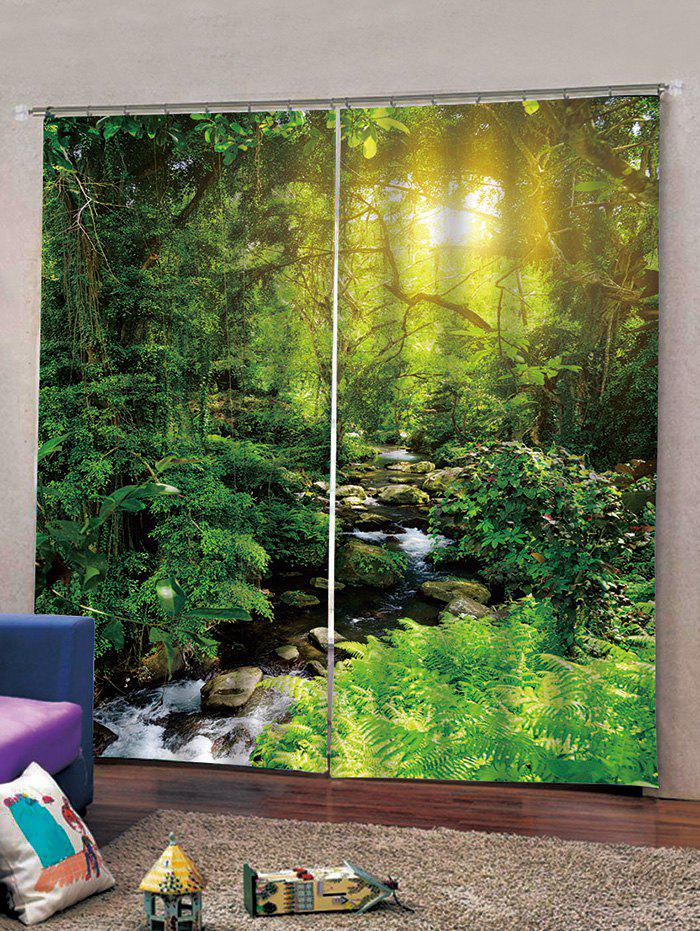 Affordable 2 Panels Sunlit Forest Stream Print Window Curtains